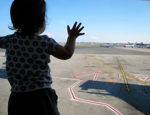 Phoebe at Logan Airport at about 18 months old.