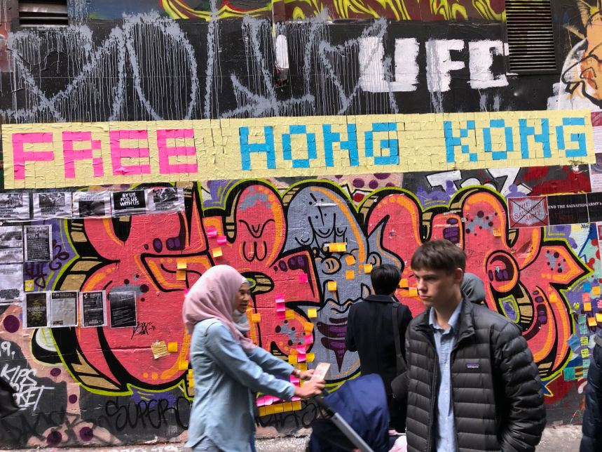 """Free Hong Kong"" message seen in Melbourne."